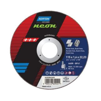 Norton Neon Metal INOX Cut Off Discs 115/125x1.6x22.23mm Type 41, A 46 S, 25/Pack
