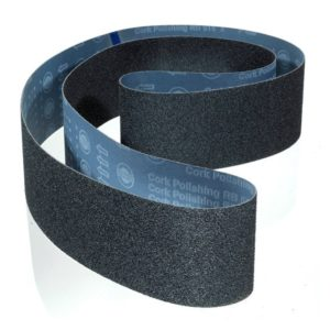 Abrasives, grinding, deburring, polishing, PPE, abrasive belts, belt calculator, metalworking belts, abrasive belts for glass, aluminium oxide abrasive belts, zirconia abrasive Belts, ceramic abrasive belts, silicon carbide abrasive belts, surface conditioning belts, 3M trizact abrasive belts, agglomerate abrasive belts, polishing felt belts, Hermes RB515/RB555 Silicon Carbide / Cork Abrasive Sanding Belts